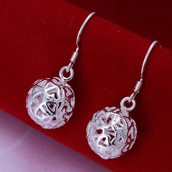 Женские серьги Резные шарики покрытие серебро