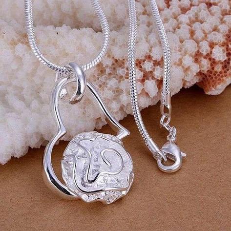 """Кулон жіночий трояндочка """"Ніжний квітка в серці"""" покриття срібло, фото 2"""