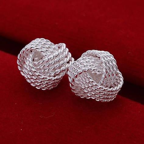 Серьги гвоздики женские Сплетение серебрянных нитей покрытие серебро, фото 2