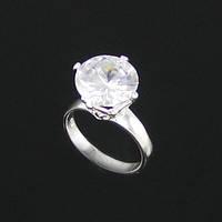 """Кольцо женское с большим прозрачным камнем цирконий """"Изумление"""" покрытие серебром"""