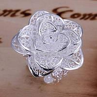 """Кольцо женское регулироемое """"Шикарная роза"""" стерлинговое серебро 925"""
