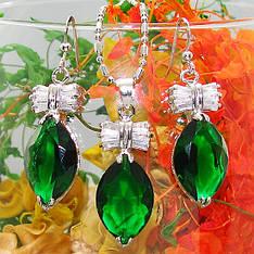 Жіночий комплект біжутерії (кольє, сережки) зелені камені (муассанит) покриття біле золото
