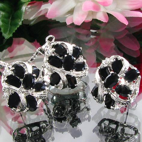 Женский комплект ювелирной бижутерии (колье, серьги) черные камни (муассанит) белая позолота, фото 2