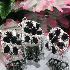 Жіночий комплект ювелірної біжутерії (кольє, сережки) чорні камені (муассанит) біла позолота