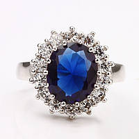 """Кольцо женское с синим камнем """"Принцессы Дианы"""" покрытое белым золотом"""