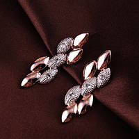 Серьги женские позолоченные с кристаллами Сваровски