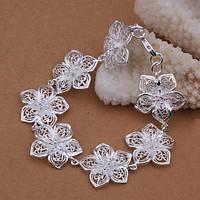 """Браслет женский  цветочный """"White Princess"""" стерлинговое серебро"""