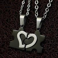 Кулоны пазлы для влюбленных черные с сердцем кулоны для пары