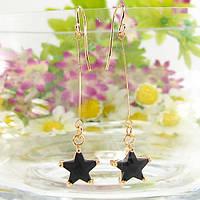 Длинные женские сережки звездочки покрытые золотом с черным муассанитом