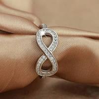 """Кольцо женское """"Бесконечность из серебра с цирконами"""" (16.5 17.3 18.2 размеры в наличии)"""