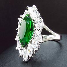 Кольцо женское с зеленым камнем муассанит  покрытое белым золотом