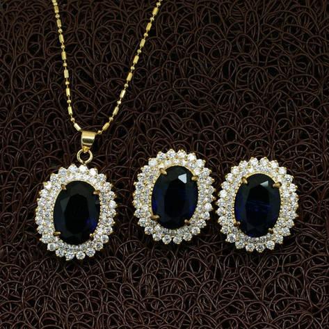 Жіночий комплект біжутерії (кольє, сережки) сині камені (муассанит) позолота, фото 2