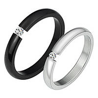"""Стильные модные кольца для двоих """"Хранители Мира"""" черное и белое с цирконом"""