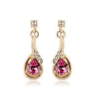 Серьги женские с красными кристалами Сваровски позолота