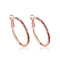 Серьги кольца женские большие сережки с камнями Сваровски позолота