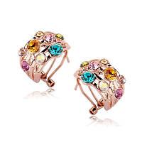Серьги женские стильные позолота разноцветные кристаллы Сваровски