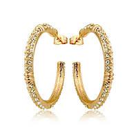 Серьги кольца позолоченные с камнями Сваровски