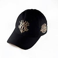 Бейсболка Wolf M черная кепка с золотистым логотипом