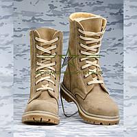 Берцы зимние НАТО бежевый нубук  мех, фото 1