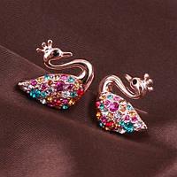 Миленькие оригинальные сережки качественная позолота кристаллы Сваровски