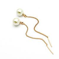 Серьги протяжки женские сережки длинные с жемчугом позолота