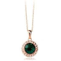 """Колье позолота """"Альфа III"""" женский стильный кулон зеленный кристал Сваровски"""