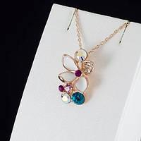 """Колье """"Энергия движения II"""" кулон цветок женский нежный красивый с цепочкой покрытые золотом"""