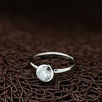 """Кольцо женское тоненькое с камнем """"Испания"""" покрытое белым золотом"""