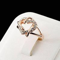 Кольцо женское  Сваровски позолота ювелирная бижутерия