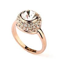 """Кольцо женское с большим прозрачным камнем под бриллиант """"Двойное очарование"""" Сваровски позолота"""