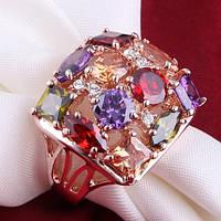 """Кольцо женское много разноцветных камней """"Арес"""" Сваровски позолота ювелирная бижутерия"""