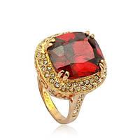 """Кольцо женское с красным камнем """"Assante de Vyuele"""" Сваровски позолота ювелирная бижутерия"""