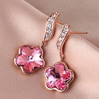Сережки в виде цветка женские розовые кристаллы Сваровски позолота
