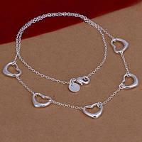 """Ожерелье женское сердечки """"Открытое сердце"""" покрытие серебро"""