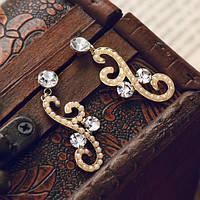 """Стильные женские серьги покрытые качественной позолотой с жемчугом и кристаллами Сваровски  """"Лиэн II"""""""