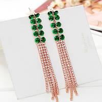 """Стильные длинные женские позолоченные серьги с зелеными кристаллами Сваровски """"Viola las Green"""""""