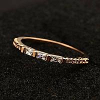 """Кольцо женское узкое """"Simply Classic"""" чешские кристаллы позолота ювелирная бижутерия"""