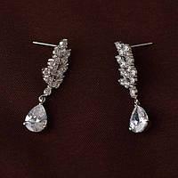 """Нежные свадебные сережки для невесты покрыты платиной """"Persey"""""""
