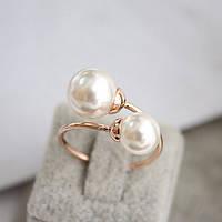 """Кольцо женское с двумя жемчужинами """"Флоренция"""" жемчуг позолота ювелирная бижутерия"""