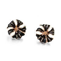 Красивые женские черные сережки гвоздики с эмалью позолота