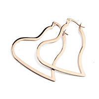 Серьги сердечки женские покрытие розовое золото 750 проба