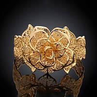 """Женский стильный позолоченный браслет """"Шикарная золотая роза"""""""