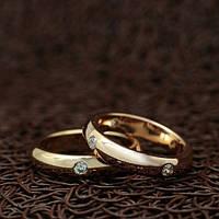 """Венчальные кольца """"True love"""" для пары, для влюбленных позолота"""