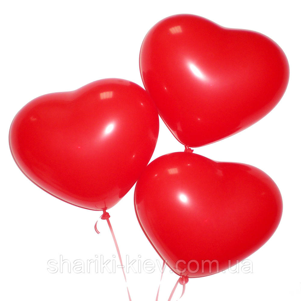 Шарик латексный Сердечко (28 см.) красное без надписи на День рождения