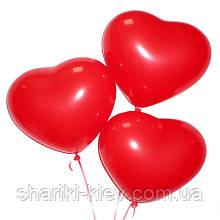 Шарик гелевый латексный Сердечко (26 см.) красное без надписи