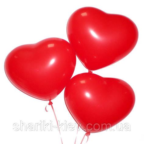 Шарик латексный Сердечко (28 см.) красное без надписи на День рождения , фото 2