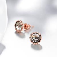 Серьги-гвоздики маленькие с камешками позолота