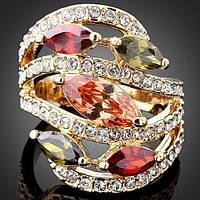 Кольцо женское большое с кристаллами Swarovski