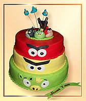 """Детский торт  """"Прикольные птички"""""""