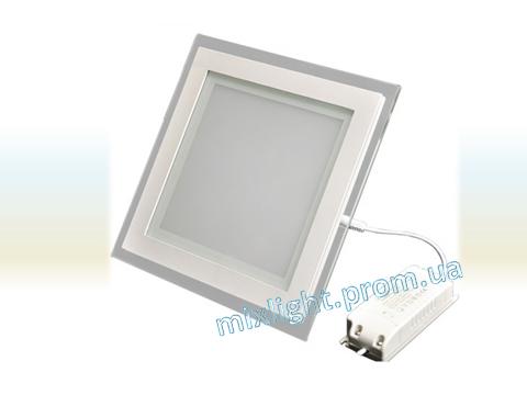 Светодиодный светильник квадрат 18W Glass Rim Metal 4000K